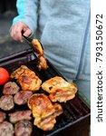roasting chickens on bbq | Shutterstock . vector #793150672