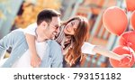 romantic couple is having fun... | Shutterstock . vector #793151182