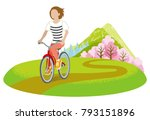 woman cycling in springtime ... | Shutterstock .eps vector #793151896