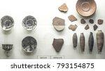 fragments of antique ceramics.... | Shutterstock . vector #793154875