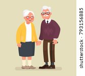 elderly couple holding hands.... | Shutterstock .eps vector #793156885