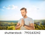 serenity concept. man praying... | Shutterstock . vector #793163242