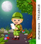a adventurer under the bright...   Shutterstock . vector #793168618