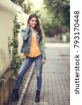 young woman with nice hair... | Shutterstock . vector #793170448