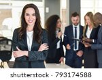 businesswoman leader looking at ... | Shutterstock . vector #793174588