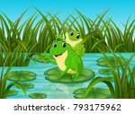 river scene with happy frog on... | Shutterstock . vector #793175962