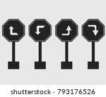 left right  turn symbol icon of ... | Shutterstock .eps vector #793176526
