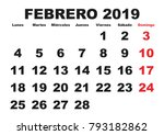 february month in a year 2019... | Shutterstock .eps vector #793182862