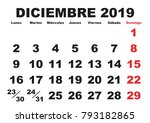 december month in a year 2019... | Shutterstock .eps vector #793182865