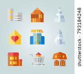 icon set about construction.... | Shutterstock .eps vector #793184248