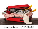 open suitcase with warm clothes ... | Shutterstock . vector #793188538