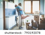 portrait of young couple moving ... | Shutterstock . vector #793192078