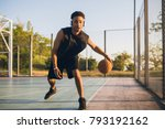 young black smiling man playing ... | Shutterstock . vector #793192162