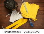 warm clothes with ski outfit on ... | Shutterstock . vector #793193692