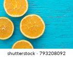 orange. glass of orange juice... | Shutterstock . vector #793208092