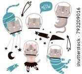 circus cats astronauts vector... | Shutterstock .eps vector #793209016