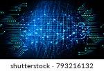 binary circuit board future... | Shutterstock . vector #793216132
