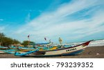 fishing boat on the beach with... | Shutterstock . vector #793239352