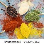 milled spices   garlic ...   Shutterstock . vector #793240162