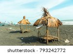 bungalow on the beach with blue ... | Shutterstock . vector #793242772