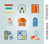 icon set about real assets.... | Shutterstock .eps vector #793243372