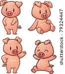 baby,blushing,cartoon,character,cute,happy,jumping,pig,pink,shy,sitting,standing,vector,waving