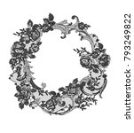 lace flowers frame decoration... | Shutterstock .eps vector #793249822
