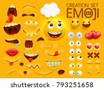 yellow smiley face emoji... | Shutterstock .eps vector #793251658
