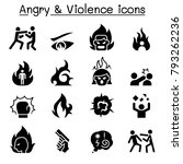 angry   violence icon set  | Shutterstock .eps vector #793262236