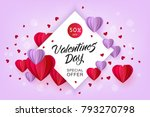 vector valentines day sale card ... | Shutterstock .eps vector #793270798