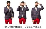 set of well dressed man showing ... | Shutterstock . vector #793274686