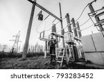 the energy engineer inspects... | Shutterstock . vector #793283452