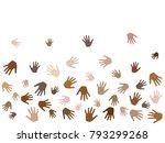 hands with skin color diversity ... | Shutterstock .eps vector #793299268
