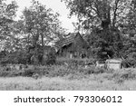 An Old  Ruined Wooden Barn...