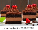 coffee cream cake with red... | Shutterstock . vector #793307035