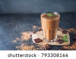 chocolate smoothie with banana  ... | Shutterstock . vector #793308166