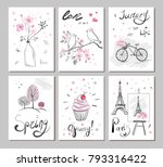 set vector cards with hand... | Shutterstock .eps vector #793316422