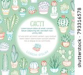 vector outlined cacti... | Shutterstock .eps vector #793316578