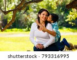 mother and son outdoor... | Shutterstock . vector #793316995
