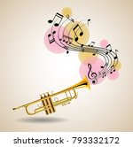 golden trumpet with music notes ... | Shutterstock .eps vector #793332172