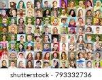 96 faces   children  adults ... | Shutterstock . vector #793332736