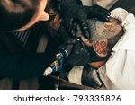 tattoo artist holding a tattoo...   Shutterstock . vector #793335826