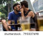 gay couple drinking beer in... | Shutterstock . vector #793337698