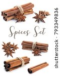 cinnamon stick group with star... | Shutterstock . vector #793349836