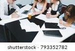 brainstorming office workers... | Shutterstock . vector #793352782