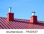 2 Air Vents On Top Of A Red Roof