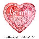 red vector watercolor heart... | Shutterstock .eps vector #793354162