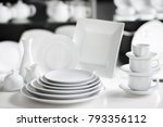 hotel restaurant white dishes... | Shutterstock . vector #793356112