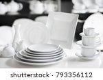 hotel restaurant white dishes... | Shutterstock . vector #793356112