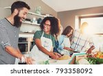 laughing group of young cooking ... | Shutterstock . vector #793358092